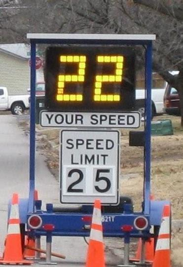 Speed Trailer showing speed of oncoming traffic