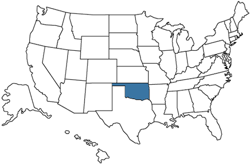 A map of the United States with Oklahoma highlighted.