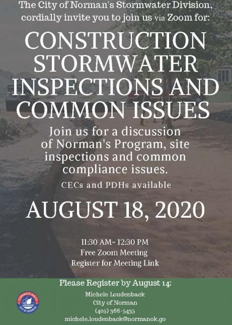Flyer for Builders Workshop on August 18, 2020 on site inspections and common compliance issues for stormwater
