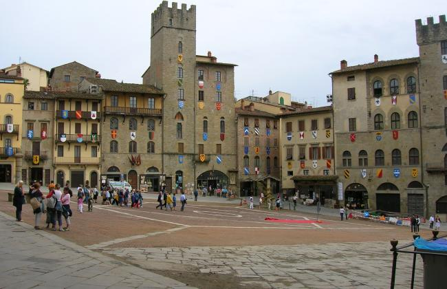 The Piazza Grande (Great Square) in Arezzo Italy