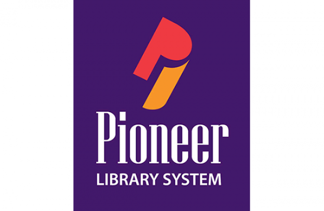 Pioneer Library System Logo in Purple