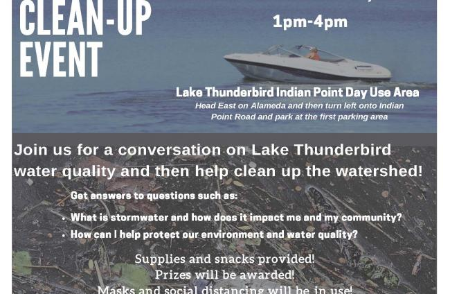 Flyer for Lake thunderbird Watershed Workshop and Clean-up Event November 1, 2020